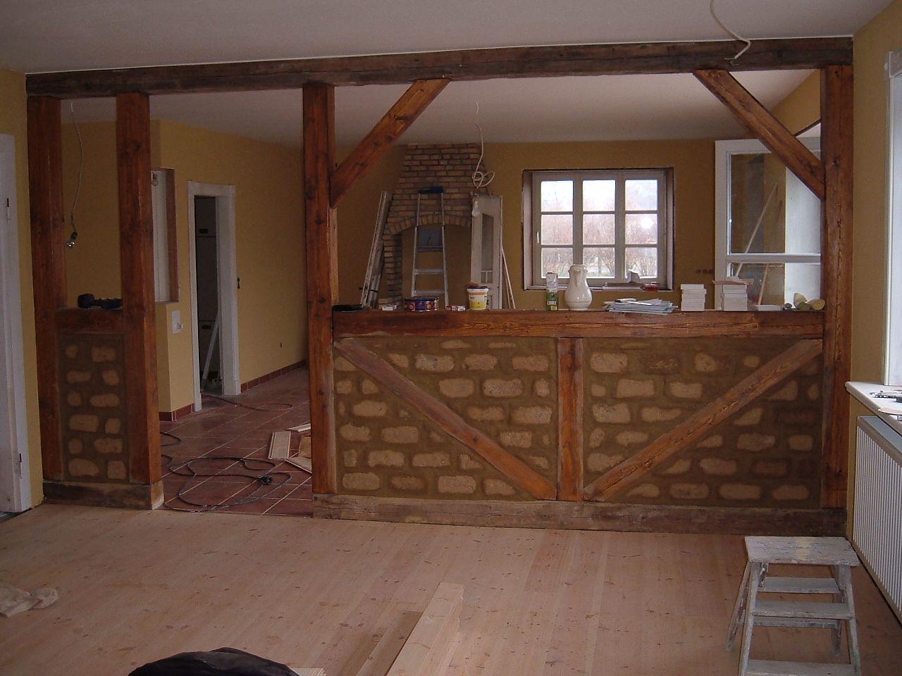 Lehmbaufachwerk als Trennwand im Wohnbereich